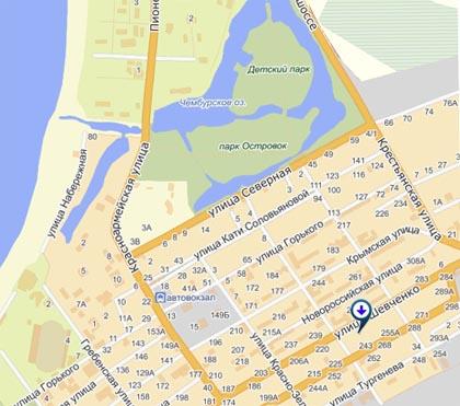 Расположение гостиницы на карте